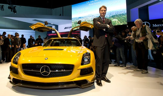 Ola Kallenius, Chairman of Mercedes-AMG GmbH presents the 2014MY SLS AMG Black Series in this file photo from the Mercedes-Benz Press Conference in Los Angeles.