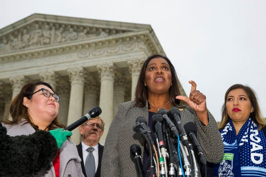 New York Attorney General Letitia James speaks after leaving the Supreme Court after oral arguments were heard in the case of President Trump's decision to end the Obama-era, Deferred Action for Childhood Arrivals program (DACA), Tuesday, Nov. 12, 2019, at the Supreme Court in Washington.