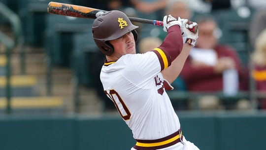 Arizona State first baseman Spencer Torkelson belted 23 homers last season, with a .707 slugging percentage and .446 on-base average, helped by 41 walks in 57 games and only 45 strikeouts.