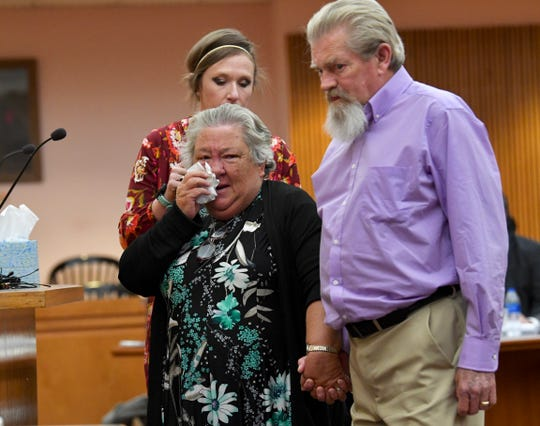 Sandra and Steve McAdams, grandparents of Jacob Hall, finish telling Judge Lawton McIntosh about how life changed after the school shooting in 2016 at the Anderson County Courthouse Thursday, November 14, 2019. Jesse Osborne was sentenced for life shortly families and school officials spoke.