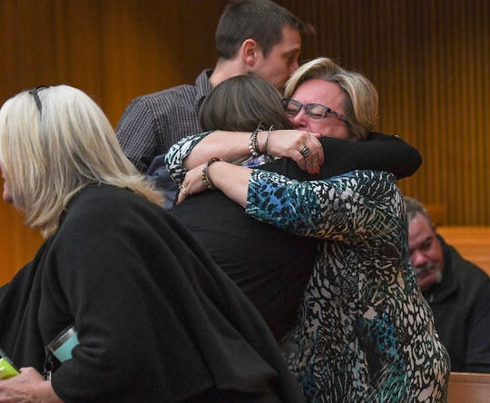 Townville Elementary and families affected by the shooting from 2016 hug after Jesse Osborne was sentenced by Judge Lawton McIntosh for life at the sentence-related hearing at the Anderson County Courthouse Thursday, November 14, 2019.