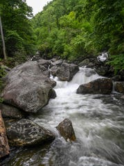 Water flows below the lower Whitewater Falls in Oconee County near Salem.