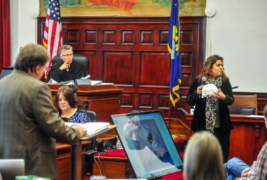 Dr. Nikki Mourtzinos, a medical examiner, describes the findings from a 2016 autopsy she conducted on the body of Adam Petzack during testimony before District Court Judge Elizabeth Best, Thursday morning at the Cascade County Courthouse.  Brandon Craft is on trial, charged with deliberate homicide, for the 2016 shooting death of Adam Petzack, which occurred at a private residence just outside of Great Falls in Cascade County.