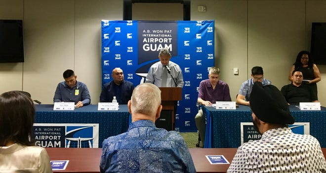 The A.B. Won Pat International Airport Authority issuedand sold $39 million in refunding bonds. Authority executive manager Tom Ada discusses the bond sale at a press conference on Thursday, Nov. 14.