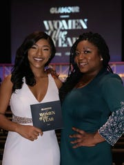 Shakira Hall, 19, of Bassfield, Miss., a Harvard University student, left, attends the Glamour Women of the Year Awards in New York City with Deesha Dyer, a fellow at the Institute of Politics at Harvard. The former White House staffer during the Obama Administration now serves as a mentor to Hall.