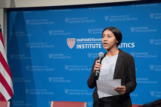 Shakira Hall, 19, of Bassfield, Miss., a Harvard University student, participates in a forum hosted by the Harvard Kennedy School Institute of Politics.