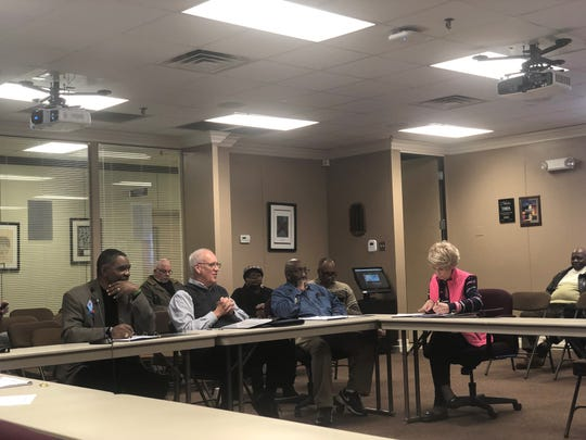 The newly-formed JMCSS ethics committee met for the first time Tuesday to review their duties. Pictured around the table, from l to r, are Paul Lacy, Bill Kipp, Clarence Boone and Sylvia Showalter. Committee member Joe Mays was not present.