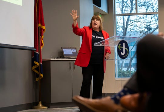 President of United Ways of Tennessee Mary Graham speaks at the Jackson Chamber to discuss the Asset Limited, Income Constrained, Employed — or ALICE — report in Jackson on Thursday.