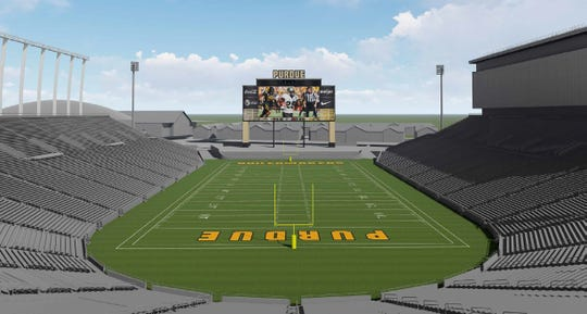 Rendering of the new $10 million video board at Ross-Ade Stadium