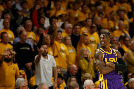 Nov 13, 2019; Richmond, VA, USA; LSU Tigers forward Emmitt Williams (5) reacts after fouling out of the game against the Virginia Commonwealth Rams in the second half at Stuart C. Siegel Center. Mandatory Credit: Geoff Burke-USA TODAY Sports