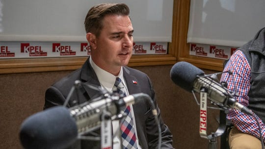Lafayette mayor-president candidate Josh Guillory answers questions from moderators Bernadette Lee and Rob Kirkpatrick during a debate on 96.5 KPEL Radio Wednesday, Nov. 13, 2019.