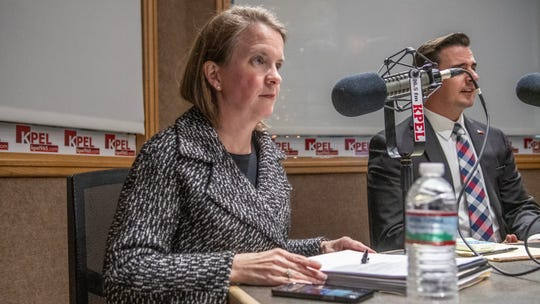 Lafayette mayor-president candidate Carlee Alm-LaBar prepares for a debate on 96.5 KPEL Radio Wednesday, Nov. 13, 2019.