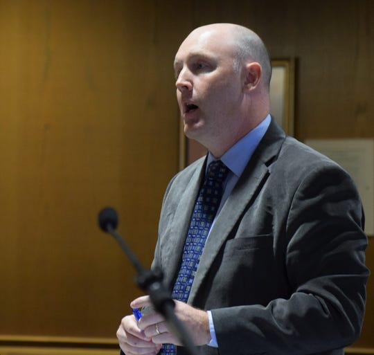 Chris Reamer, a Fairfield County assistant prosecutor, speaks to the court during the sentencing hearing of Richard Mathias, Jr. Mathias was sentenced to five years in prison after he plead guilty to one count of gross sexual imposition, a third-degree felony.
