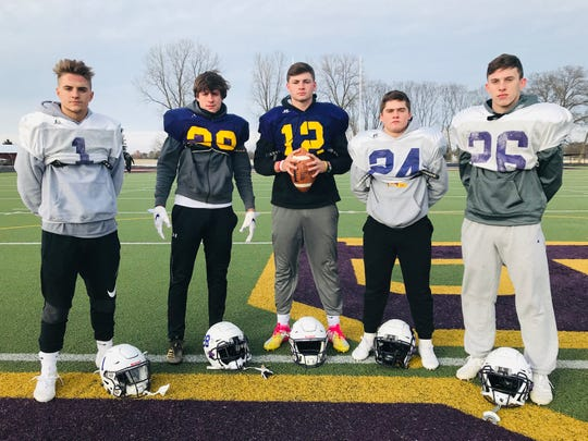 Bloom-Carroll's offense was on point in a first-round playoff win and was led by senior quarterback Otto Kuhns and his talented group of receivers. From left to right, Josh Evans, Branyon Dodds, Kuhns, Evan Willet and Eli Coppess.