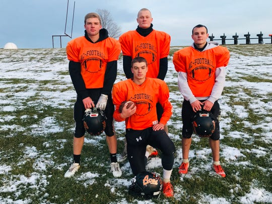 Led by senior captains, Peyton Madison (kneeling),  and standing left to right: Jayse Miller, Jesse Connell and Alex Fairchild, Amanda-Clearcreek was able to rack up up 446 yards rushing in a first-round playoff win.