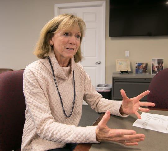 Katherine Janego, who is retiring from her position as executive director of Love, INC, talks about the work of the nonprofit at Love, INC's office in Howell Wednesday, Nov. 13, 2019.