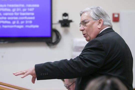 Attorney General Gregory Townsend asks about the basis for the data presented in a PowerPoint presentation by Dr. Carol Kauffman in the meningitis hearing.