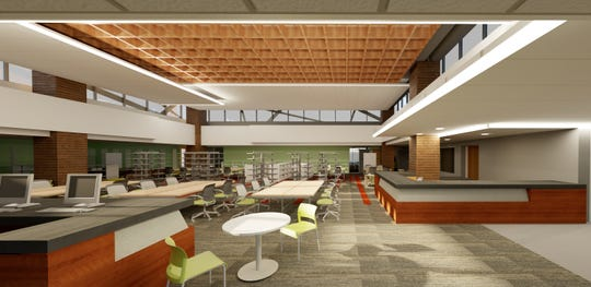 Renderings provided by St. X show the media center.