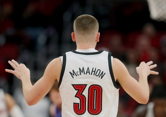 Louisville's Ryan McMahon celebrates knocking down a three against Indiana State on Nov. 13, 2019