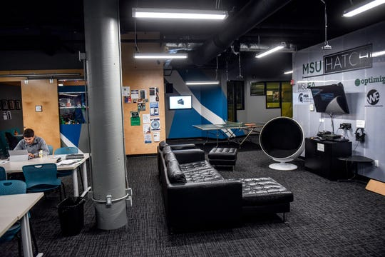 A view of The Hatch, a space where Michigan State University entrepreneurs can work on startup companies while collaborating with each other and staff, photographed on Tuesday, Nov. 12, 2019, at The Hatch in East Lansing.