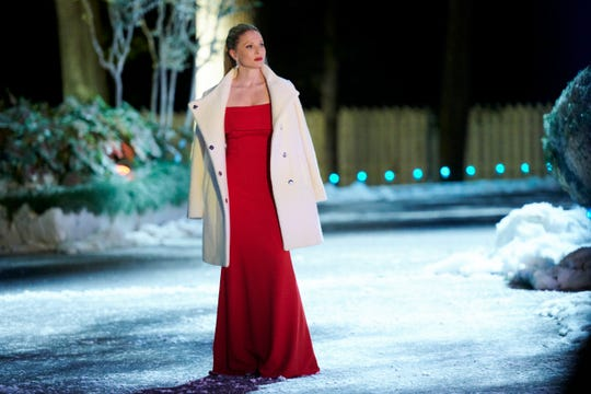 "Kaitlin Doubleday walks the winterized grounds of Graceland in ""Christmas at Graceland: Home for the Holidays."""