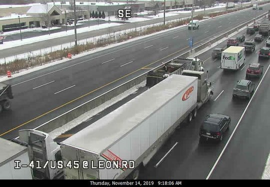 This freeway camera image shows traffic backed up on southbound I-41 in Menomonee Falls on Thursday.