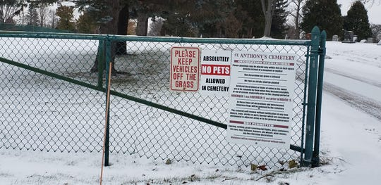 St. Anthony's Cemetery, N74W13604 Appleton Ave in Menomonee Falls on Nov. 14. The cemetery had 27 vases stole from graves in early November.