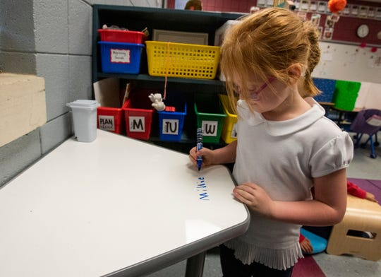 Forest Avenue School pupil Millie Hicks writes on a stand up dry erase desk at the school in Montgomery on Thursday November 14, 2019.