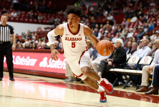 Alabama freshman guard Jaden Shackelford (5) drives to the basket during Monday night's 78-59 win over Florida Atlantic on Nov. 11, 2019 from Coleman Coliseum in Tuscaloosa.