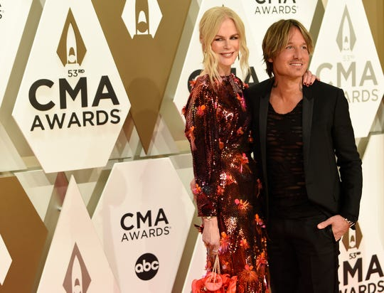 Nicole Kidman and Keith Urban on the red carpet at the 53rd Annual CMA Awards at Music City Center Wednesday, Nov. 13, 2019 in Nashville, Tenn.