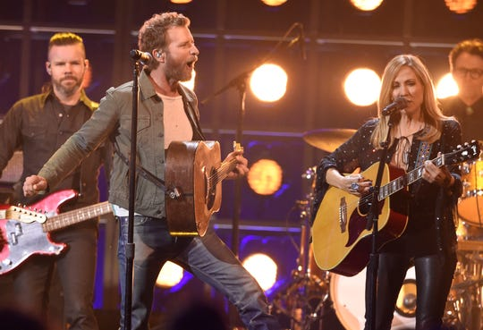 Dierks Bentley performs with Sheryl Crow at the 53rd annual CMA Awards at Bridgestone Arena on Wednesday, Nov. 13, 2019.