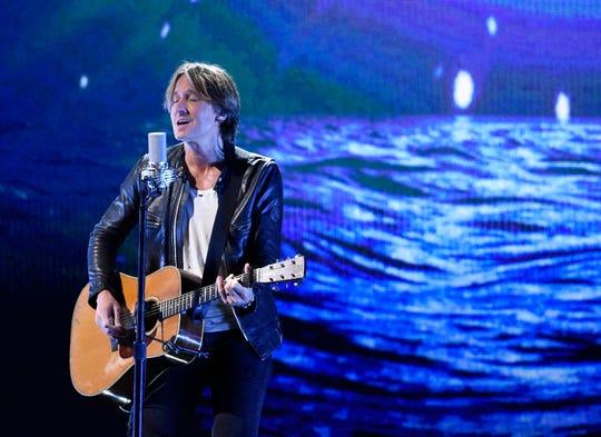 Keith Urban performs at the 53rd Annual CMA Awards at Bridgestone Arena Wednesday, Nov. 13, 2019 in Nashville, Tenn.