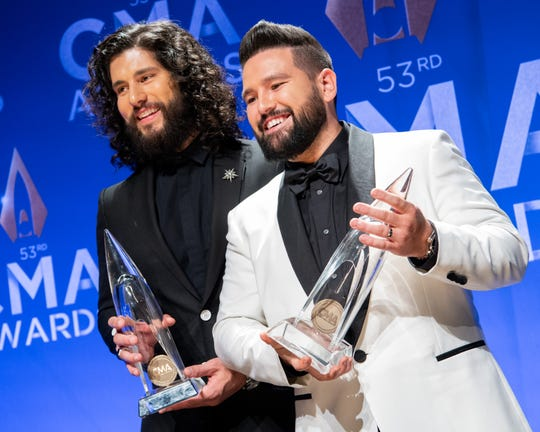 "Best Country Song: Dan + Shay - ""Speechless"" Here Dan + Shay show off their Vocal Duo of the Year award backstage in the press room during the 53rd Annual CMA Awards at Bridgestone Arena in Nashville, Tenn. Nov. 13, 2019."