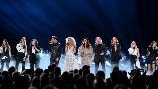 Little Big Town and others perform during the 53rd annual CMA Awards at Bridgestone Arena in Nashville on Wednesday, Nov. 13, 2019.