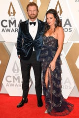 Dierks Bentley and Cassidy Black on the red carpet during the 53rd Annual CMA Awards at Music City Center in Nashville, Tenn., Wednesday, Nov. 13, 2019.