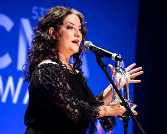 Ashley McBryde speaks about her CMA New Artist of the Year award backstage in the press room during the 53rd Annual CMA Awards at Bridgestone Arena in Nashville, Tenn., Wednesday, Nov. 13, 2019.