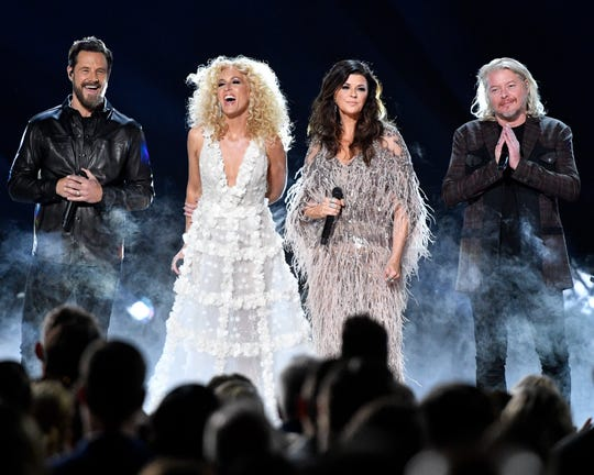 "Little Big Town performs during the CMA Awards at Bridgestone Arena in Nashville on Nov. 13, 2019. The band is nominated for Best Country Duo/Group Performance for ""The Daughters"" at this year's Grammys."