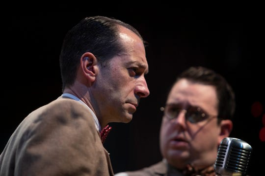"""Jeffery Binder, lett and Brian Owen rehearse a scene toogther in """"It's a Wonderful Life: A Live Radio Play"""", Wednesday, Nov. 13, 2019, at the Norris Community Center in Naples."""