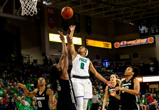 The Florida Gulf Coast University's Davion Wingate scores a goal during a regular season game against University of Central Florida on Wednesday, November 13, 2019, at Florida Gulf Coast University.