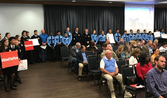 Members of Clewiston's Future Farmers of America and Florida Public Safety Academy attend the South Florida Water Management District's board meeting Thursday, November 14, 2019, at Florida Gulf Coast University.