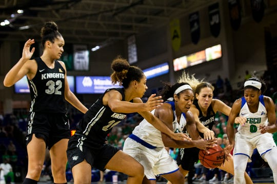 The Florida Gulf Coast University's Kerstie Phills  during a regular season game on Wednesday, November 13, 2019, at Florida Gulf Coast University.