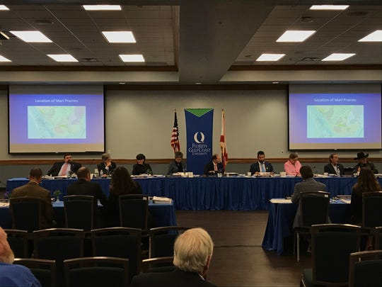 South Florida Water Management District Board members listen to presentations during a meeting Thursday, November 14, 2019, at Florida Gulf Coast University.