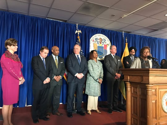 Sen. Sandra Cunningham speaks at a press conference releasing a report with recommendations to reform New Jersey sentencing policy.