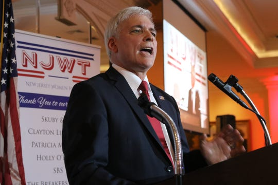 Nutley Commissioner and member of the Trump for President Advisory Board, Steven L. Rogers addresses a New Jersey Women for Trump event at the Eagle Oaks Golf Club in Farmingdale, NJ on November 7, 2019.