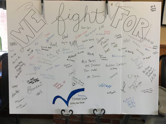 Customers who attended Lakeside Deli's Subs for Support fundraiser signed this poster board in support of loved ones and friends who are battling cancer.