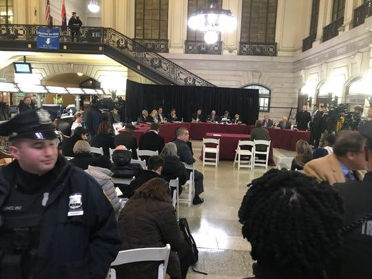 Members of the public spoke at a legislative hearing about NJ Transit in Hoboken Terminal on Nov 13, 2019.