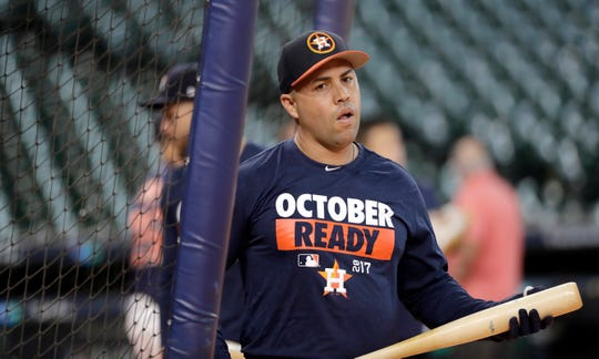 Houston Astros designated hitter Carlos Beltran exits the batting cage during practice for baseball's American League Division Series, Wednesday, Oct. 4, 2017, in Houston, where the Astros were prepping to face the Boston Red Sox.