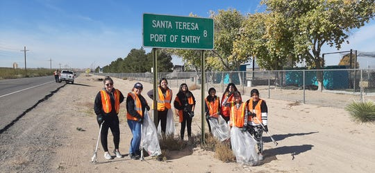 Eight volunteers with The Girls Club helped pick up litter along Airport Road near Santa Teresa High School. In all, 55 bags of trash weighing approximately 500 pounds were removed.