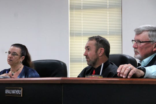 The Otero County Commission at their regular meeting Nov. 14.  From left: Commissioner Lori Bies, Commission Chairman Couy Griffin and Commission Vice-Chairman Gerald Matherly.
