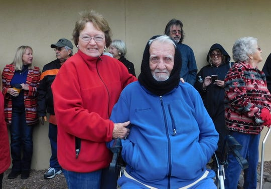 U.S. Navy veteran Rodney and Martha Brunsen braved the cold to join the ceremony in Ruidoso.